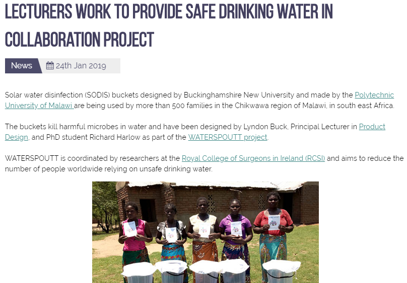 Lecturers work to provide safe drinking water in collaboration project