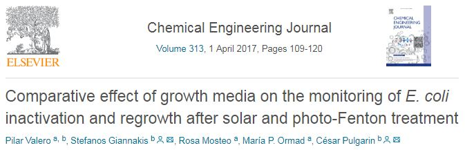 Comparative effect of growth media on the monitoring of E. coli inactivation and regrowth after solar and photo-Fenton treatment