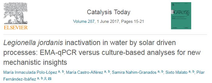 Legionella jordanis inactivation in water by solar driven processes: EMA-qPCR versus culture-based analyses for new mechanistic insights