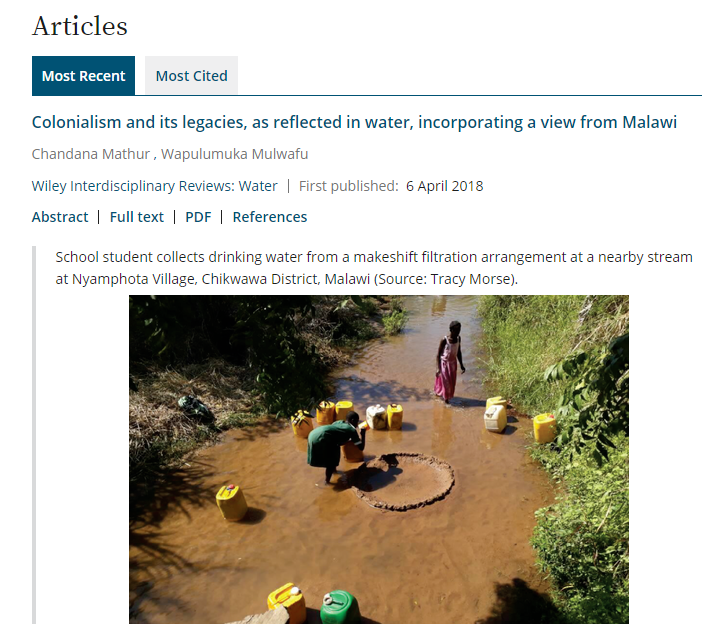 Colonialism and its legacies, as reflected in water, incorporating a view from Malawi