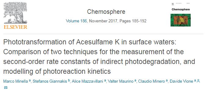 Phototransformation of Acesulfame K in surface waters: Comparison of two techniques for the measurement of the second-order rate constants of indirect photodegradation, and modelling of photoreaction kinetics