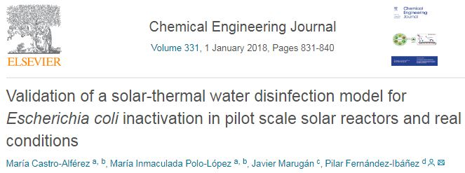 Validation of a solar-thermal water disinfection model for Escherichia coli inactivation in pilot scale solar reactors and real conditions.